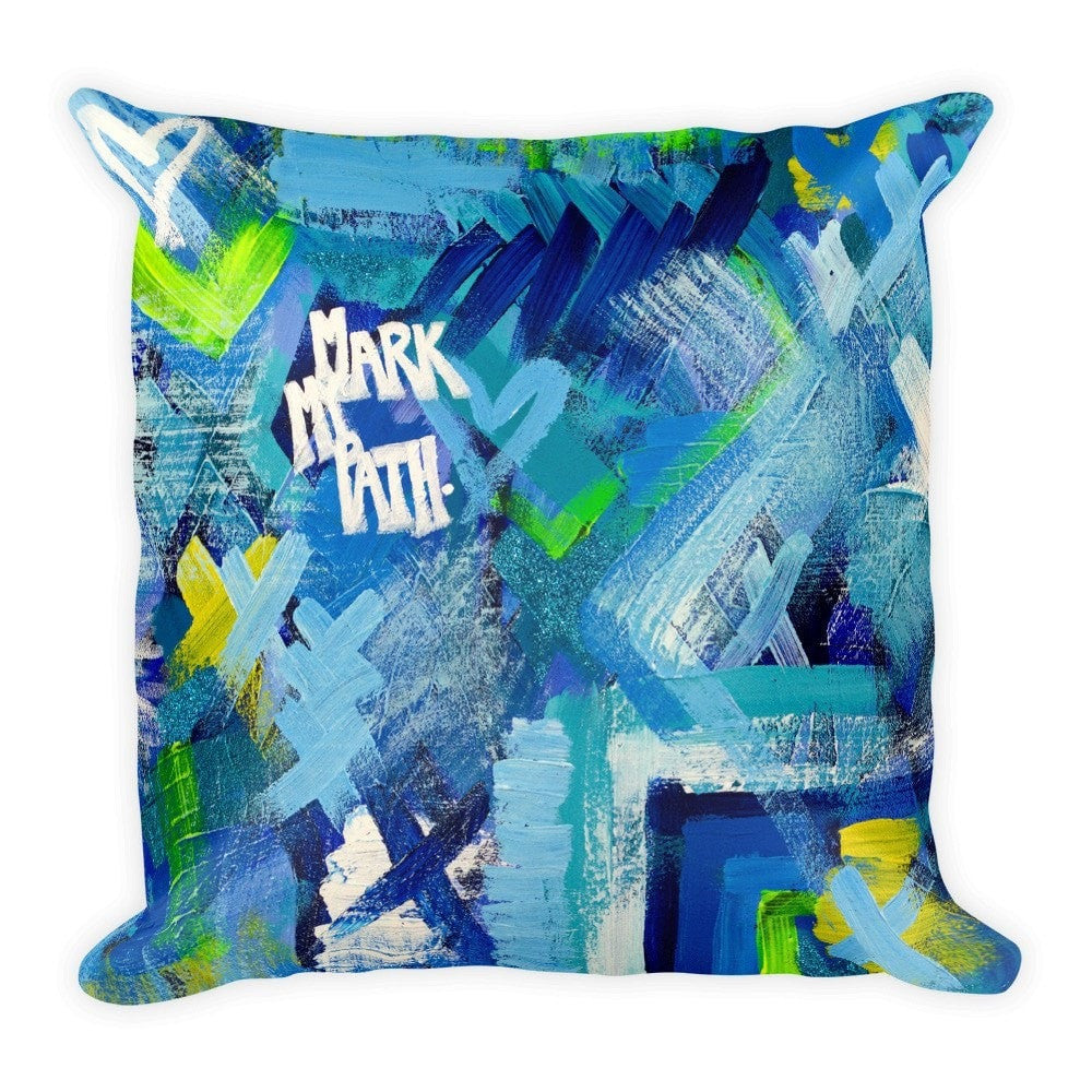 Mark My Path. Square Pillow Abstract Deep