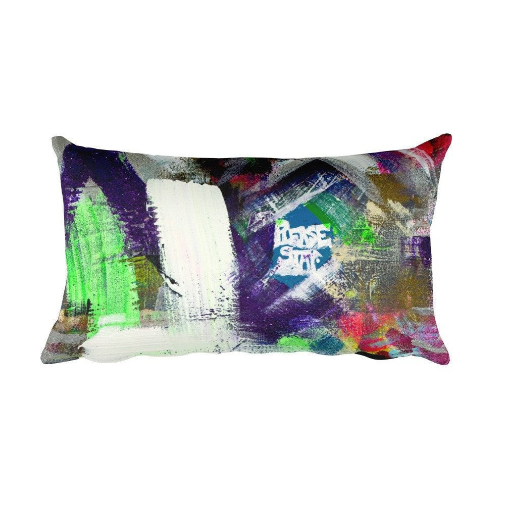 Please Stay. Rectangular Pillow Abstract Deep