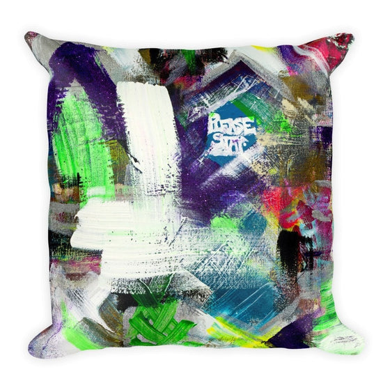 Please Stay. Square Pillow Abstract Deep