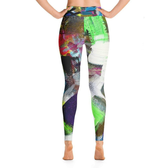 Please Stay. Yoga Leggings Abstract Deep