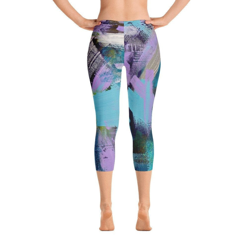 0f38cf805eb Plenty Of Time | Abstract Capri Leggings | Original Abstract Art