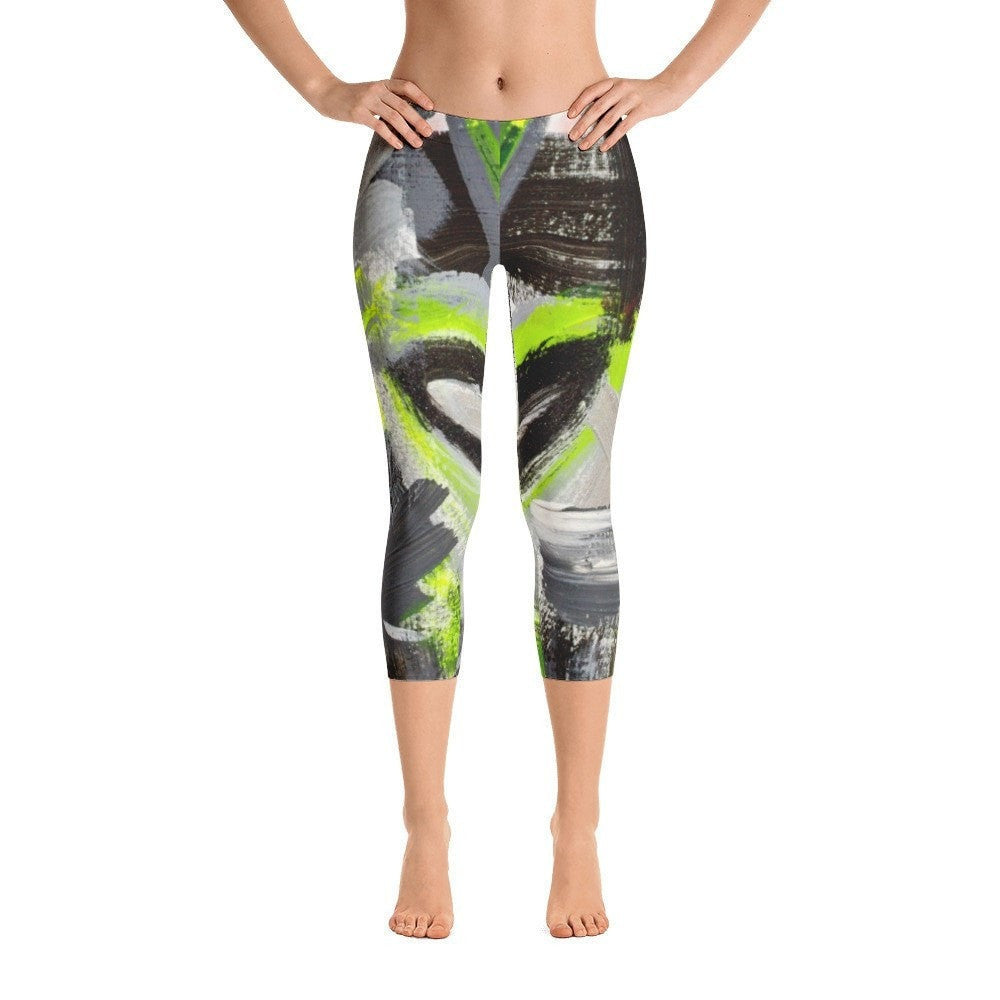 Stay In The Fight. Capri Leggings Abstract Deep