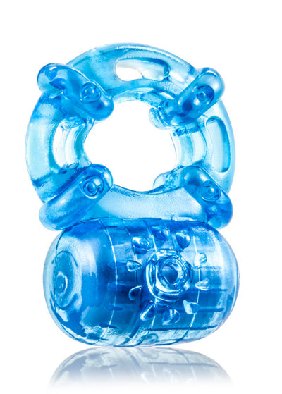 Stay Hard Reusable 5-Function Vibrating Cockring - Blue