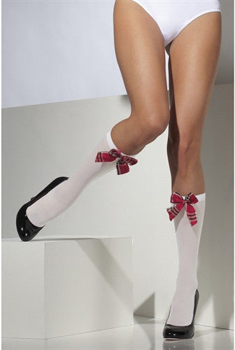 Opaque Knee High Socks - White