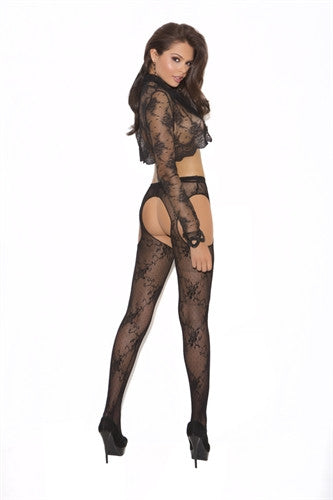 Lace Suspender Pantyhose - Black - Queen Size