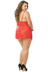 3 Pc. Lace & Mesh Babydoll Set With Eyemask - Queen Size - Red