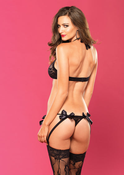 2 Pc. Strappy Lace Bra With Matching G-String -  Black - Medium/ Large