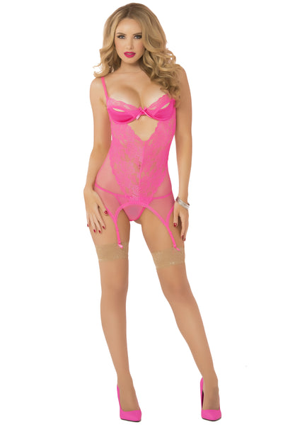 Galloon Lace & Fishnet Chemise With Thong - One Si