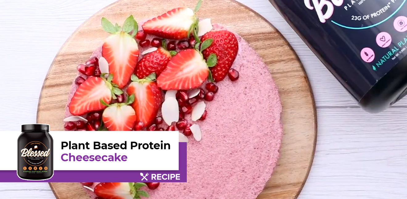 Plant-Based Strawberry Protein Cheesecake