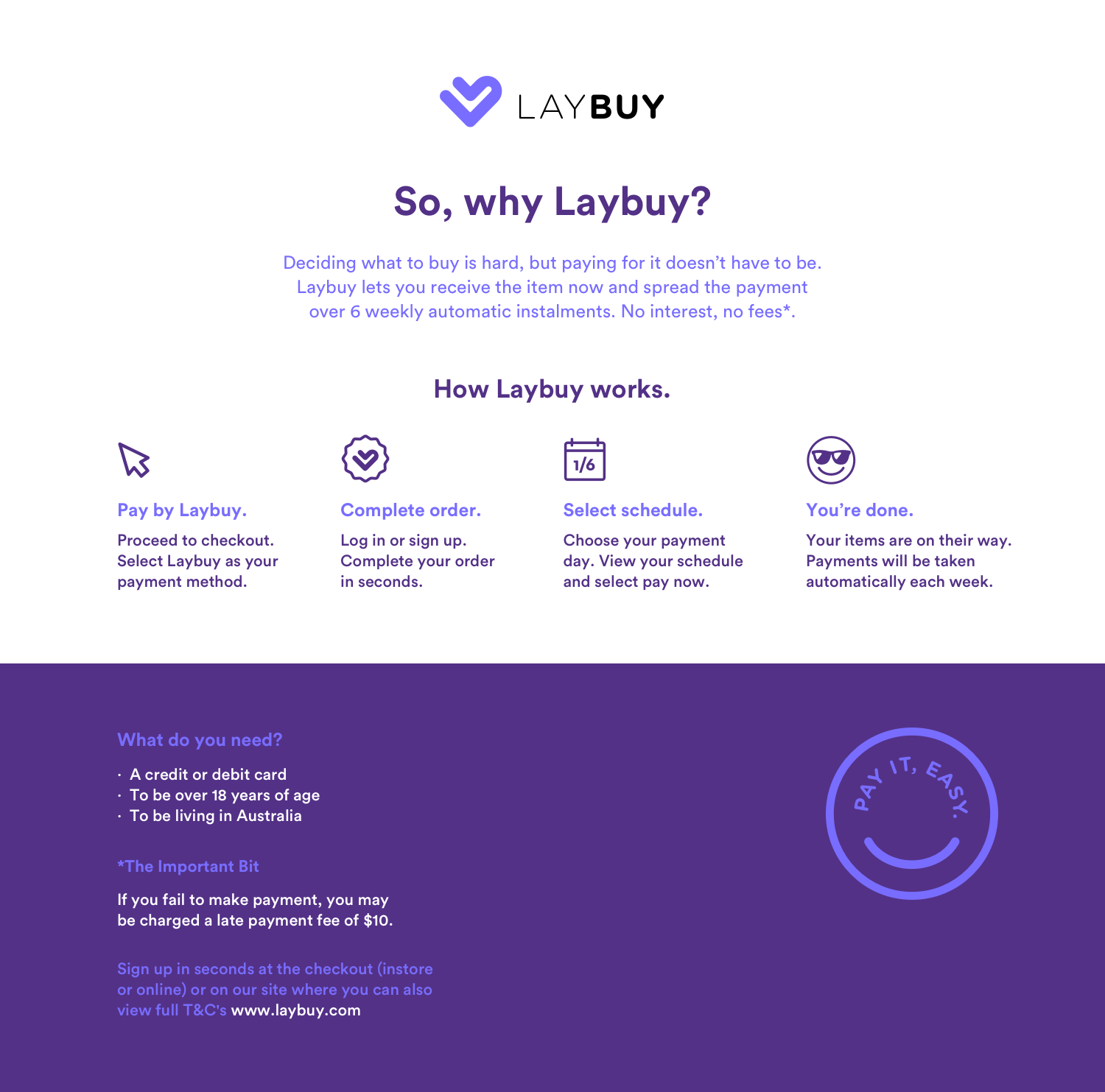 buy now, pay later with LayBuy in 6 weekly instalments