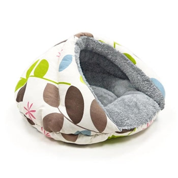 Plush Colorful Leaf Print Well-Insulated Comfy Cat Bed