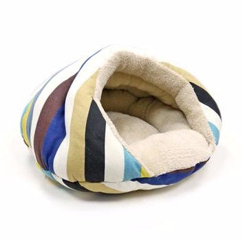 Plush Striped Modern Well-Insulated Comfy Cat Bed