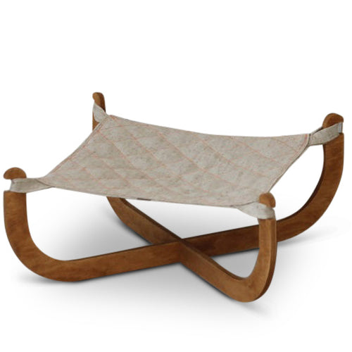 Modern Luxury Cat Hammock Bed With Wooden Legs and Canvas Sling
