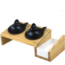 Luxury Wooden Double Feeder With 2 Black Cat-Shaped Bowls and Cat Grass Planter