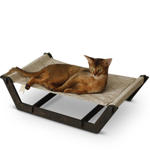 Luxury Cat Hammock Luxury Bed With Wooden Legs and Canvas Sling
