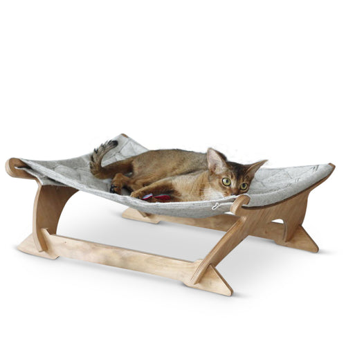 Modern Cat Hammock Modern Pet Bed With Wooden Legs and Canvas Sling