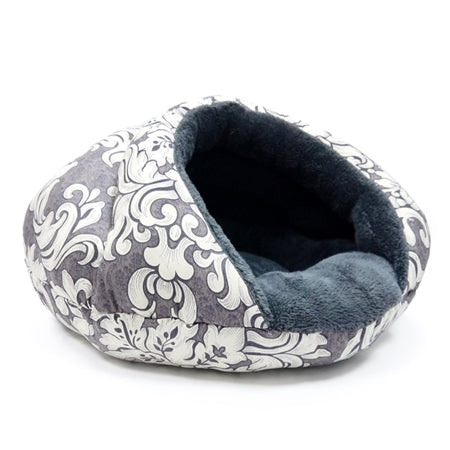 Gray and white cat bed plush comfy warm