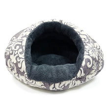 warm gray and white comfy plush cat bed