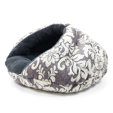 fuzzy warm fabric cat bed gray and white insulated