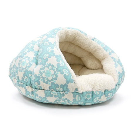 fuzzy warm cat bed well insulated blue and white