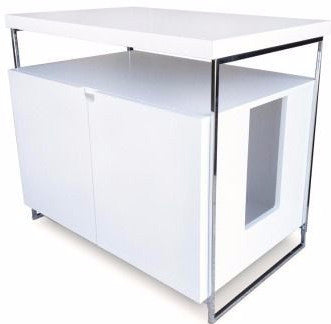 White Litter Box Hiding Cabinet with Water-Damage-Resistant Finish