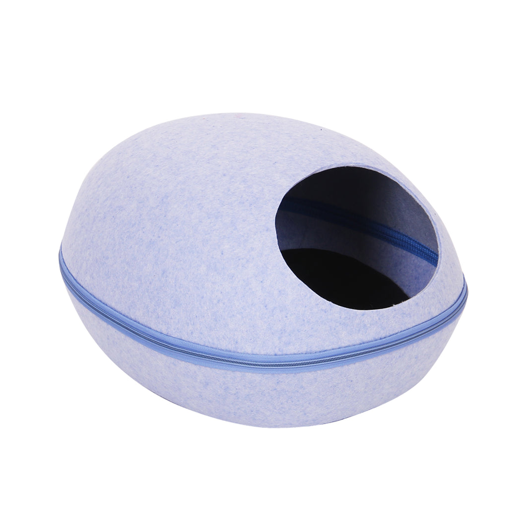 Modern Felt Pod Cat Bed in Blue With Zipper and Removable Top