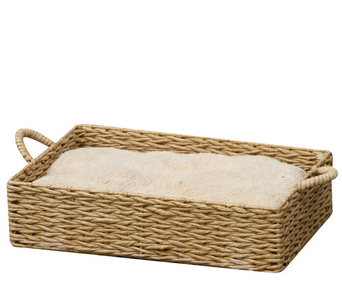Rectangular Woven Paper-Rope Cat Bed With Soft Fleece Cushion and Handles