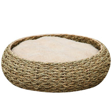 Modern Woven Paper-Rope Cat Bed With Soft Fleece Cushion