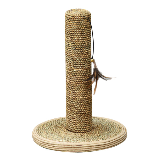 Natural Sea Grass Wrapped Cat Scratching Post With Feather Toy