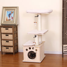Mini Natural Wooden 3-Level Cat Tree With Sisal Posts and Cat Condo