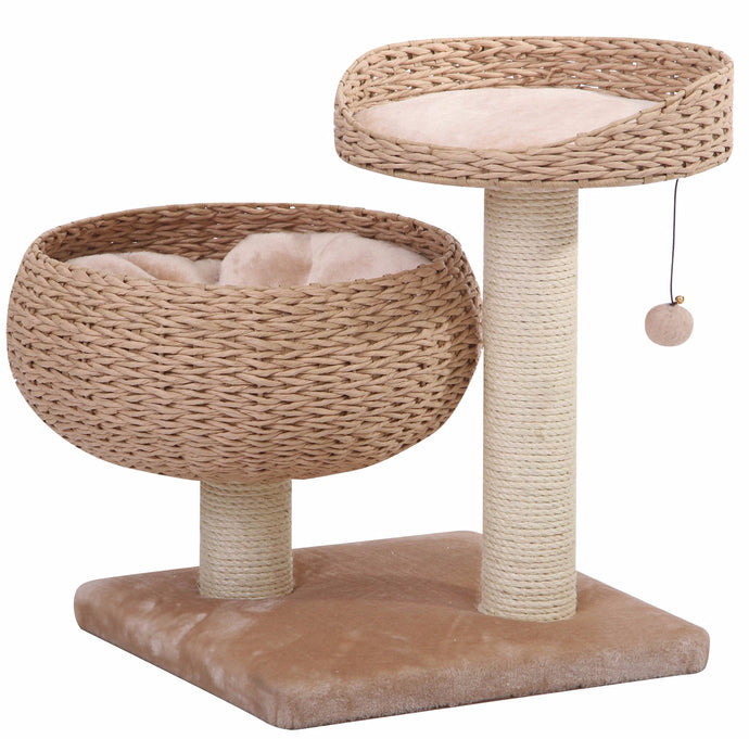 Modern Cat Tree With Dual Beds Made of Natural Recycled Paper Rope