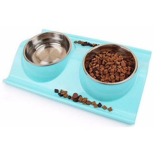 Modern Sky Blue Double Cat Food Bowl Set - Non Slip