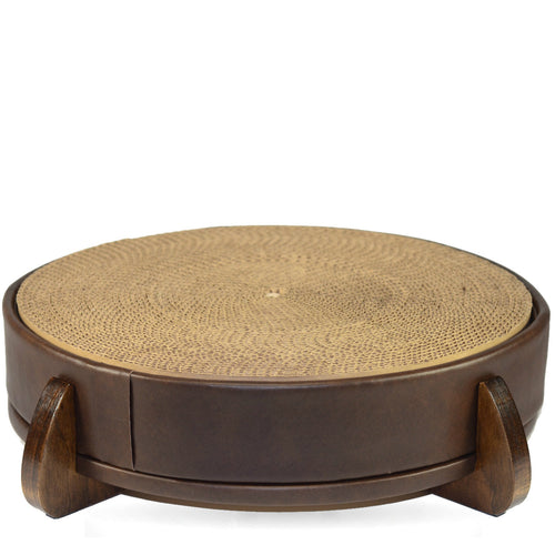 Brown Faux Leather Unique Round Modern Cat Scratcher