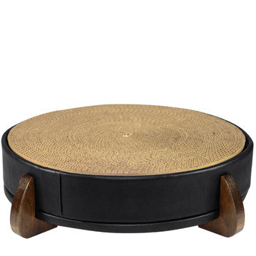 Black Faux Leather Unique Round Modern Cat Scratcher/Scratching Pad