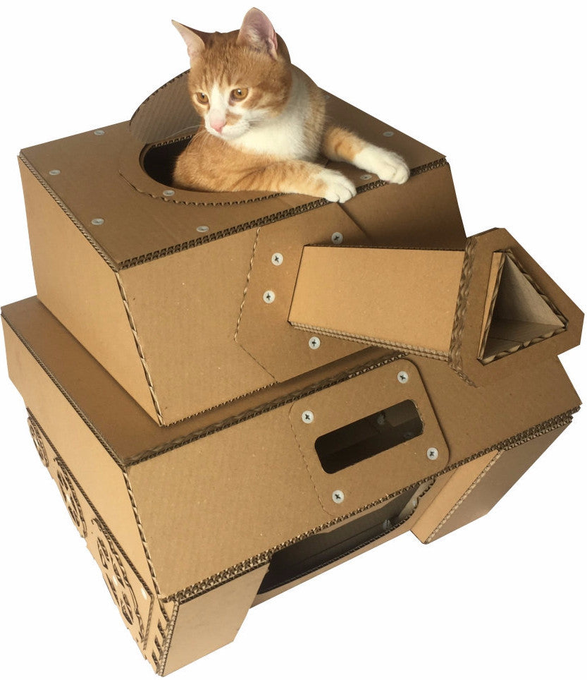 Eco friendly sturdy cardboard tank cat house cat bed for Make a cat bed out of a box