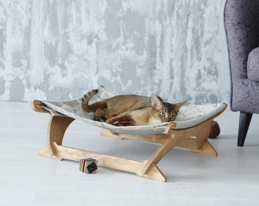 ... Modern Cat Hammock Modern Pet Bed With Wooden Legs And Canvas Sling ...