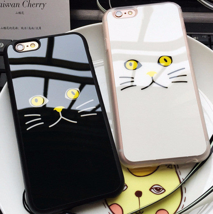 Soft Flexible Rubber Cat Face iPhone Case- in Black or White