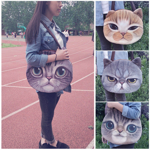 Women's Cat Face Shoulder Bag with Ears - 4 Different Styles