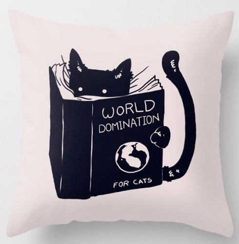 Throw Pillow Case of Cat Reading How to Kill A Mocking Bird - 17.5 inches