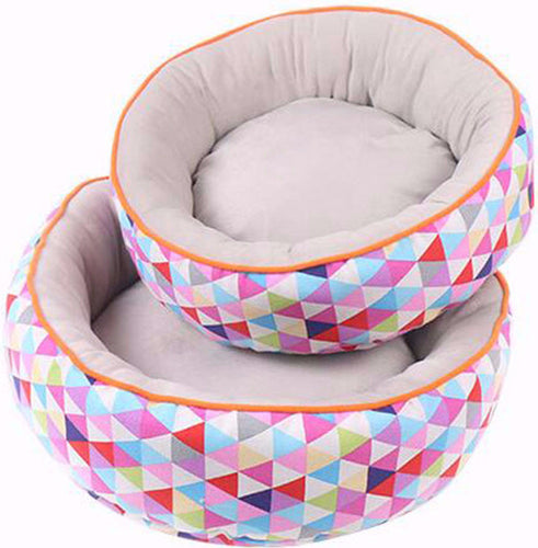 Bright and Colorful, Very Plush Geometrical Cat Bed - Comes in 3 Different Sizes
