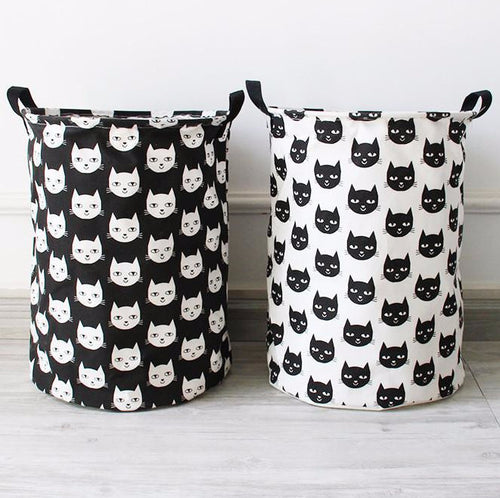 Black and White Cat Face Printed Storage or Small Laundry Basket - 35x40cm