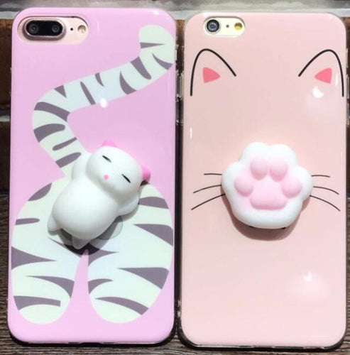 Cute Stress-Relief Squishy Belly Cat iPhone Case in Pink - Comes in Multiple Styles