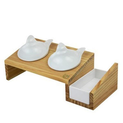 Luxury White Wooden Double Feeder With 2 Black Cat Shaped Bowls And Grass Planter