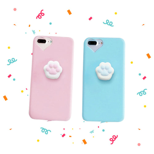 Flexible Silicone Kitty Cat Cell Phone Soft Case iPhone 6/6S/7/Plus With Squishy Paw