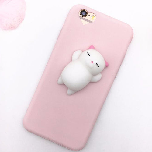Cute Stress-Relief Squishy Belly Cat iPhone Case in Pink With Heart Camera Hole