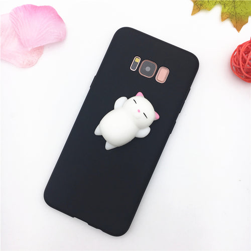 Cute Stress-Releif Squishy Belly Cat Samsung Galaxy Phone Case in Black