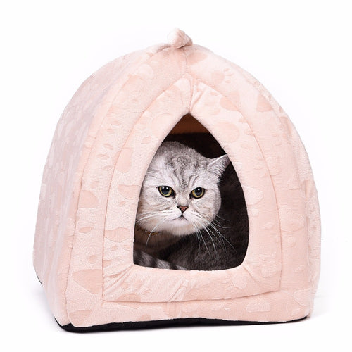 Warm and Soft Cat Cave Beds - Comes in Beige, Red, and Brown