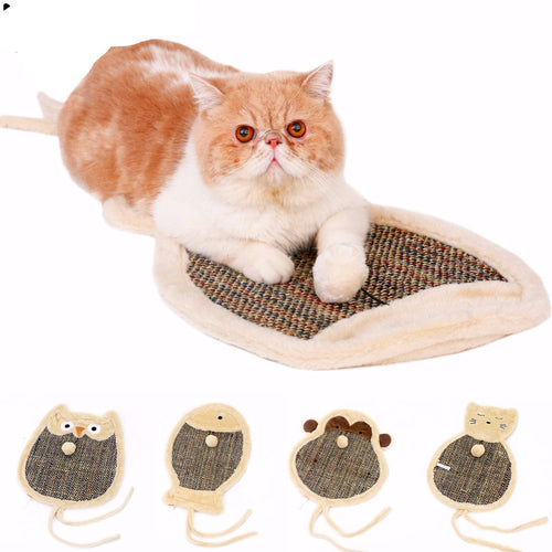 Double Sided Cat Cartoon Scratch Board with Sherpa Ball Toy,Kitten Scratcher Mat Pad Interactive Toy for Pet Training