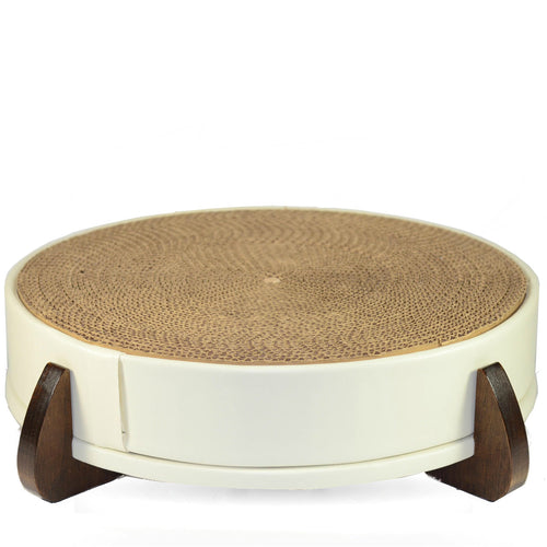 White Faux Leather Modern Round Cat Scratcher/Scratching Pad