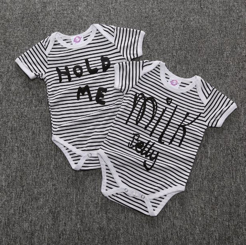 Stripped Letter Print Onesies